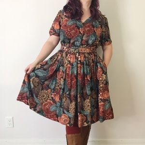 Modcloth Needlepoint Dark Floral Shirt Dress 1X